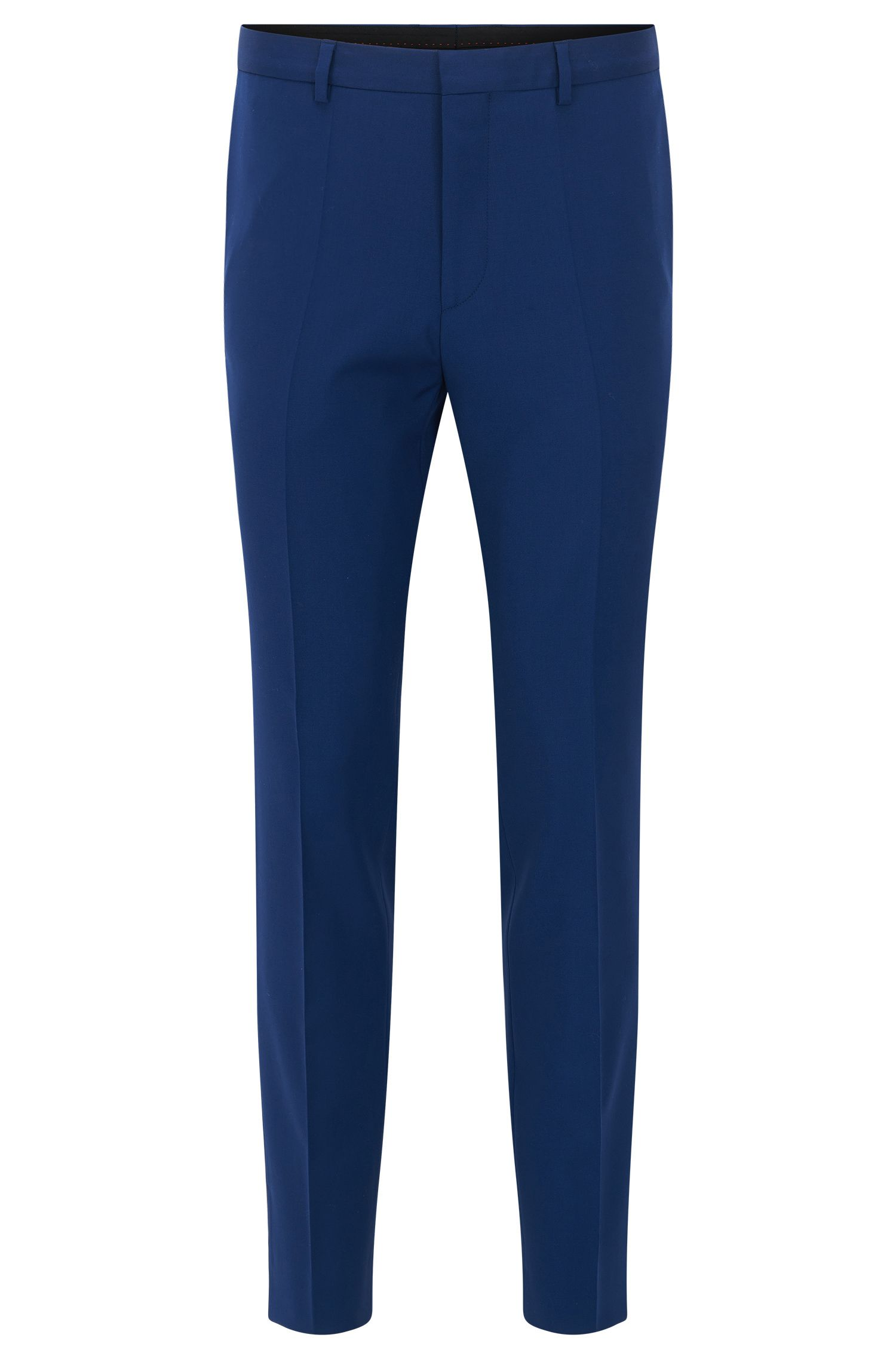 Slim-fit trousers in new wool with pressed creases: 'Henrald'