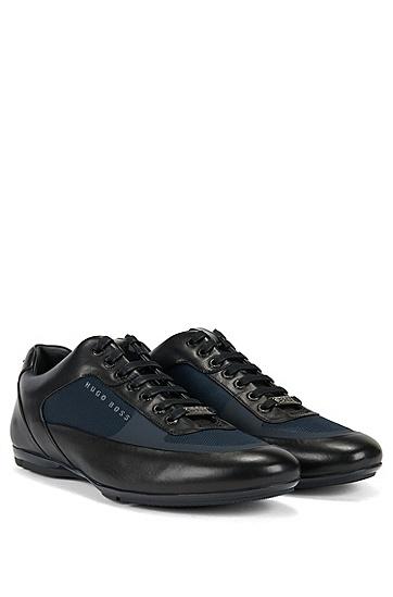 混合面料鞋帮系带运动鞋,  401_暗蓝色