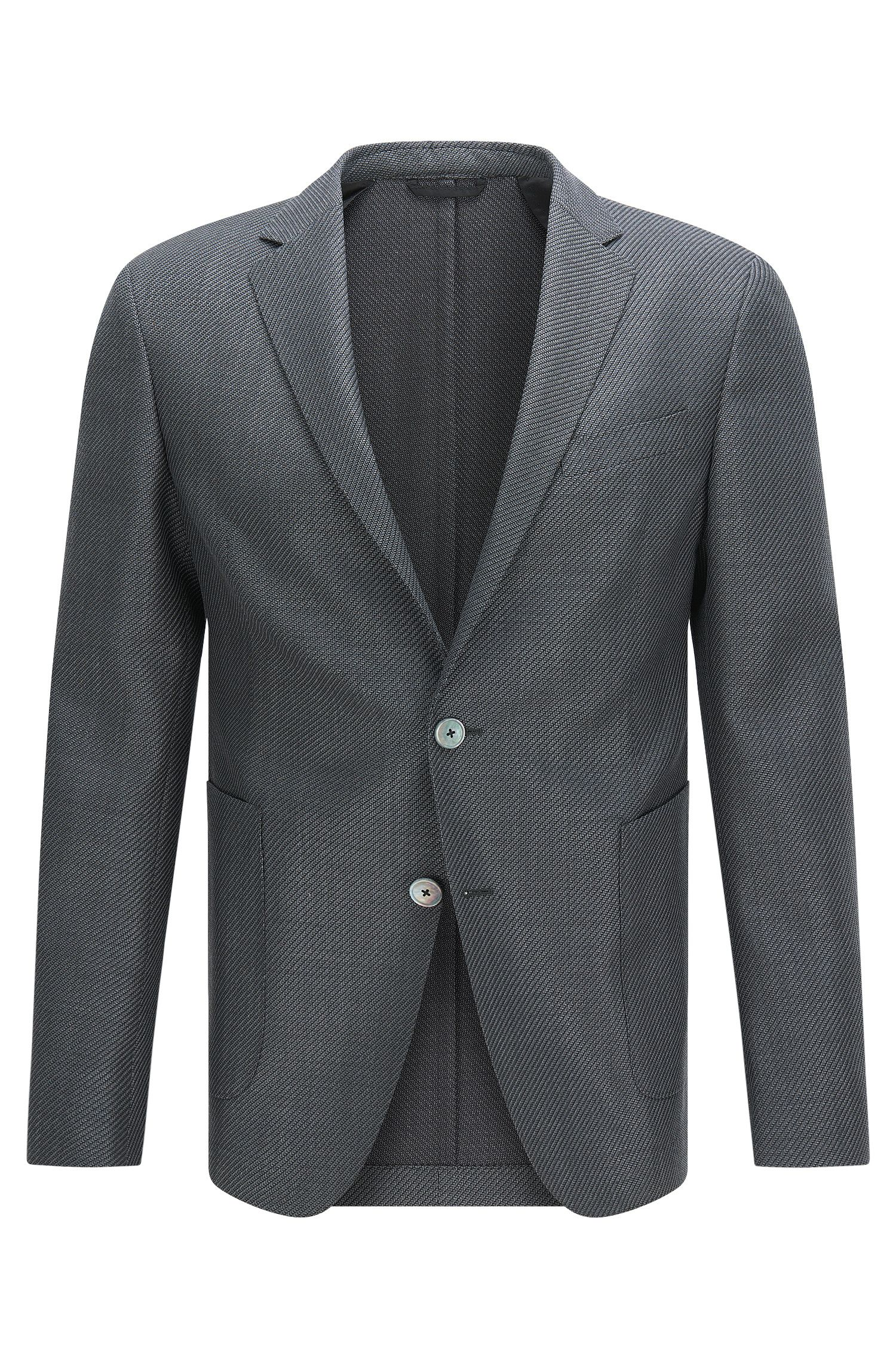 Finely patterned slim-fit jacket in mohair and new wool: 'Nold'
