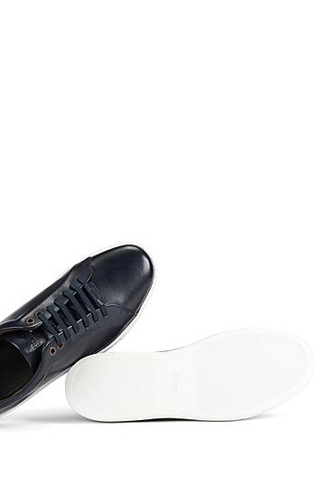 水牛皮系带运动鞋,  401_暗蓝色
