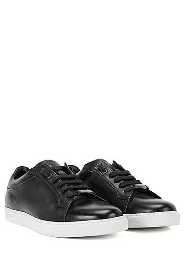 品牌大底皮革系带运动鞋,  001_黑色