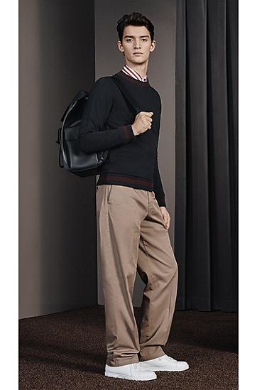 品牌大底皮革系带运动鞋,  100_白色