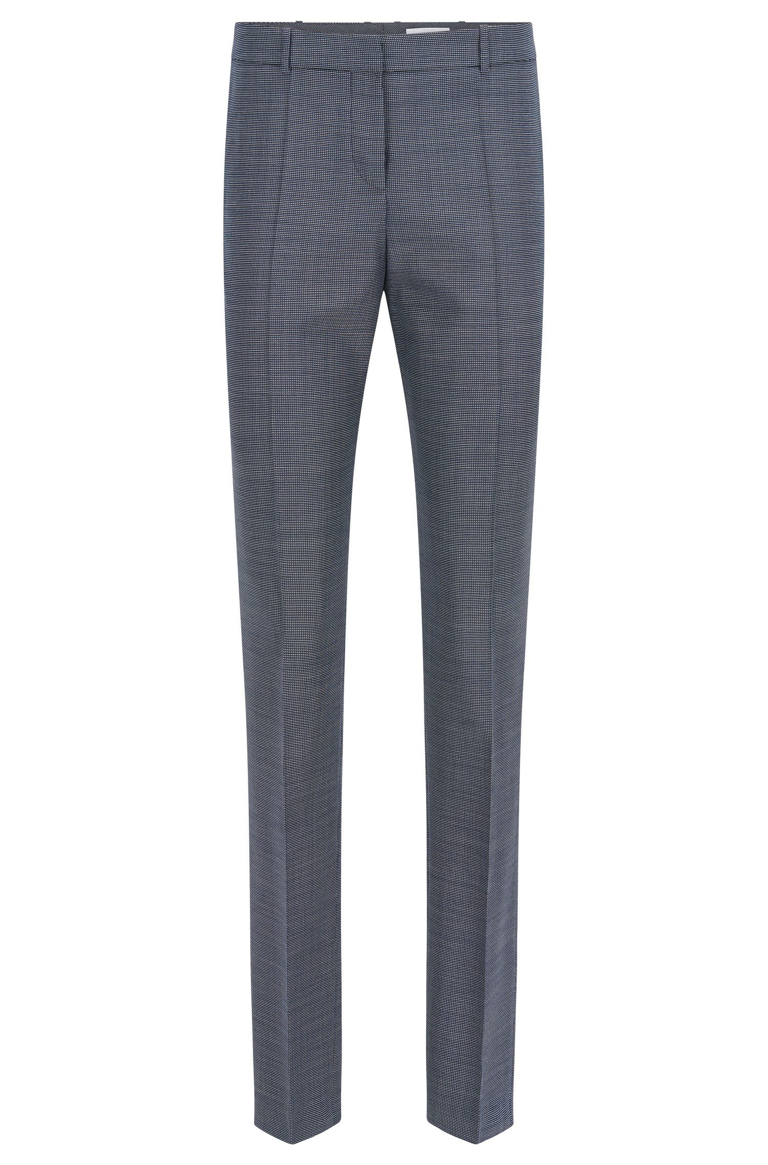 Finely patterned regular-fit trousers in stretchy new-wool blend with viscose: 'Tilunana'