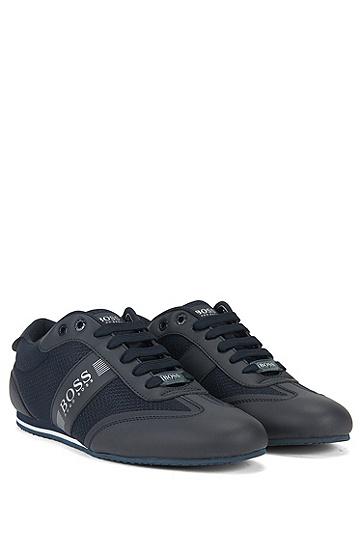男士运动网面潮流复古休闲鞋,  401_暗蓝色