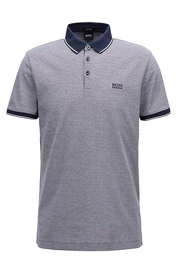 常规版丝光棉凸纹布polo衫,  410_海军蓝色