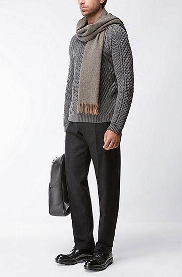 混色效果羊毛围巾,  262_中米色