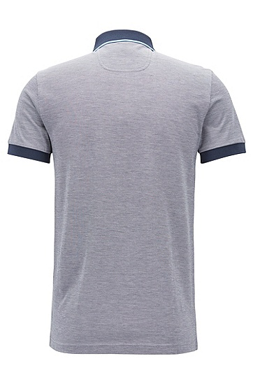 修身版棉凸纹布logo polo衫,  410_海军蓝色