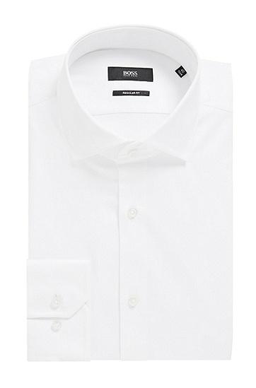 男士纯色商务职业纯棉长袖白衬衫,  100_白色