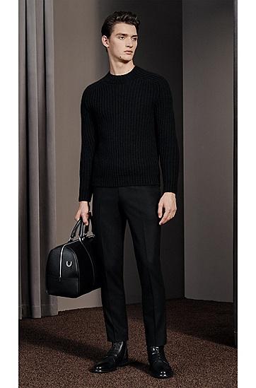 男款羊毛混纺宽领粗针织罗纹毛衣,  001_黑色