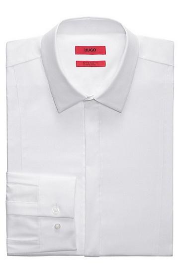 修身版棉府绸礼服衬衫,  199_淡白色