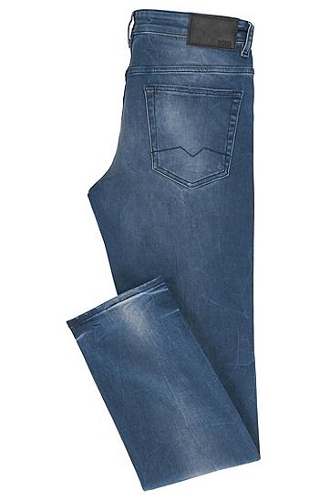 修身版磨损靛蓝弹力牛仔裤,  415_海军蓝色