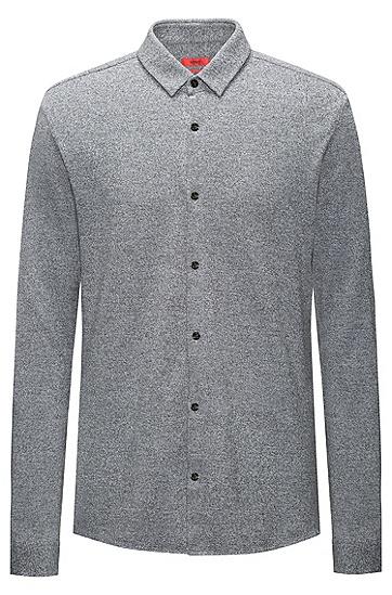修身版柔软棉质衬衫,  030_中灰色