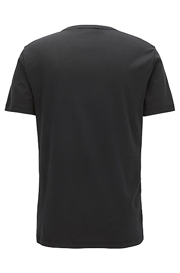 修身版植绒佩斯利印花棉 T 恤,  001_黑色