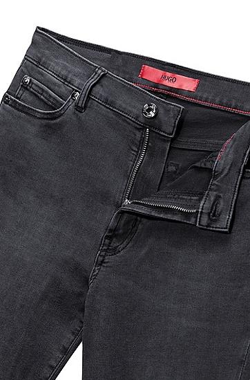 高弹力修身机车元素牛仔裤,  030_中灰色