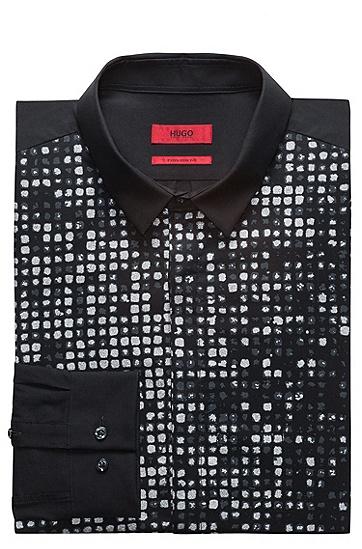 修身版闪光效果渐变色印花棉T恤,  001_黑色