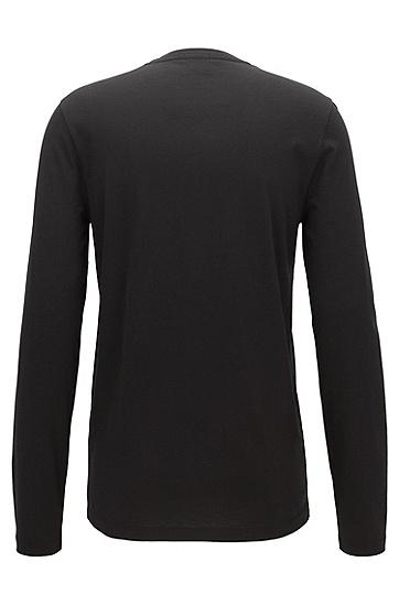 棉质混纺长袖T恤,  001_黑色