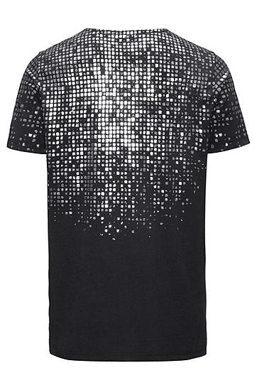 常规版银箔印花棉T 恤,  001_黑色