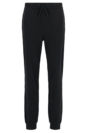 男士灰色棉质收脚运动休闲裤,  001_黑色