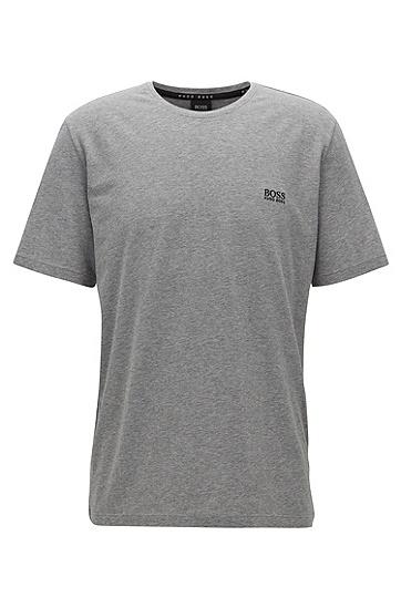 男士黑色logo圆领短袖T恤,  033_中灰色