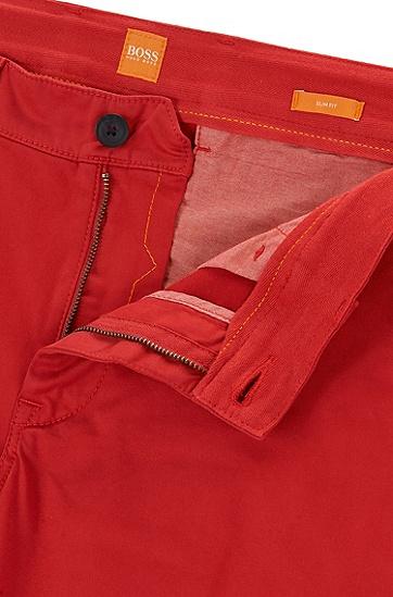 修身版弹力棉长裤,  620_亮红色