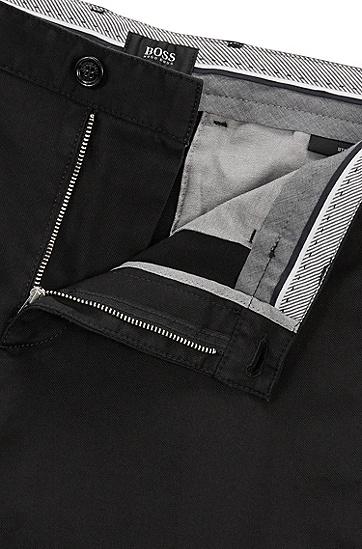 常规版弹力棉斜纹棉布裤,  001_黑色