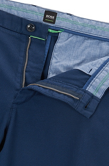 修身版双色结构棉斜纹棉布裤,  407_暗蓝色