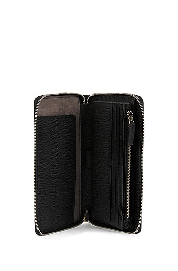 男款皮革环绕式拉链钱包,  001_黑色