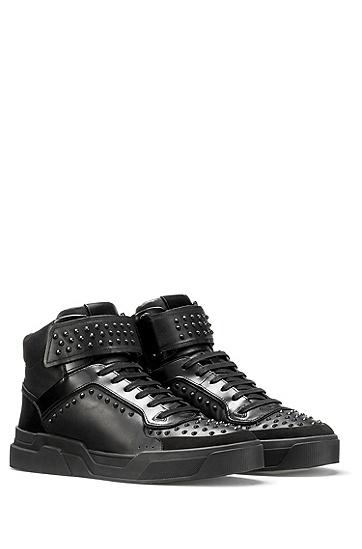 纳帕皮铆钉高帮运动鞋,  001_黑色