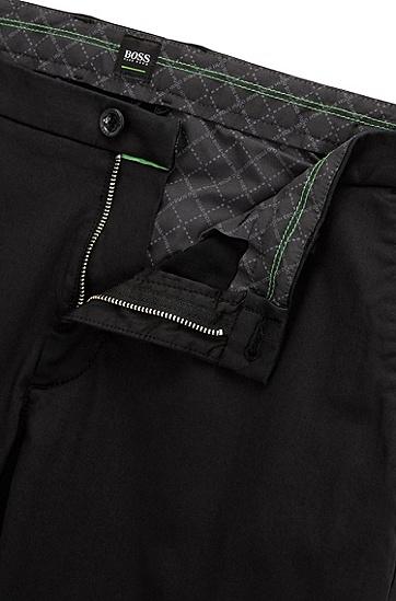 修身版弹力绸缎斜纹棉布裤,  001_黑色