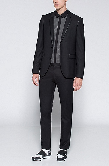 修身版图案式前襟棉晚礼服衬衫,  001_黑色