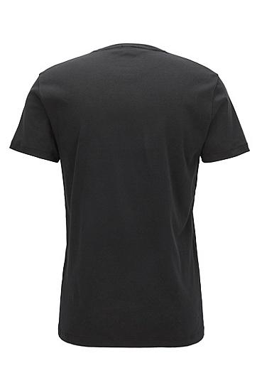 丝绒 logo 修身版棉 T 恤,  001_黑色