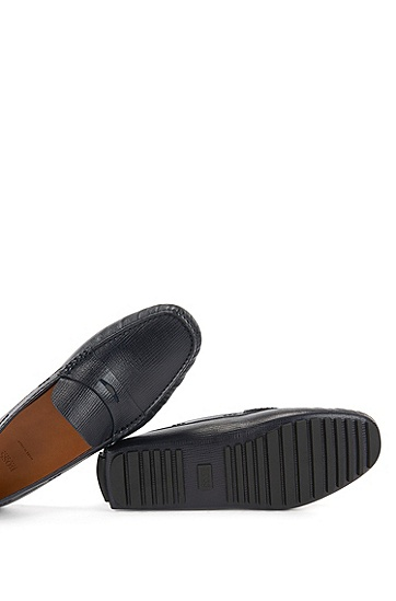 印花皮质 Penny 莫卡辛鞋,  401_暗蓝色