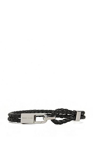 双缠绕式皮革手镯,  001_黑色