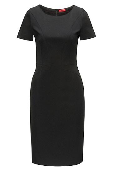 有饰板的带弹力平纹单面针织布铅笔裙,  001_黑色