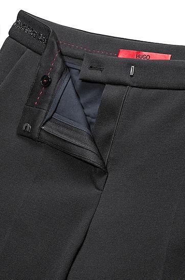 修身版棉质混纺长裤,  001_黑色