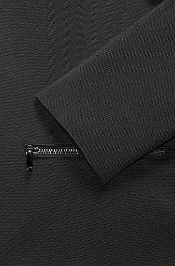 饰有拉链式口袋的常规版棉质混纺外套,  001_黑色