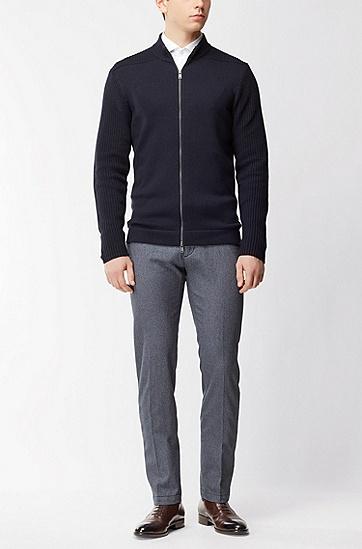 三色棉修身版斜纹棉布裤,  410_海军蓝色