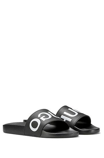 反转式logo泳池拖鞋,  001_黑色