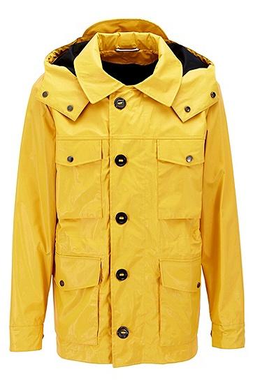 带可拆卸风帽的镀膜棉野战短外套,  723_中黄色