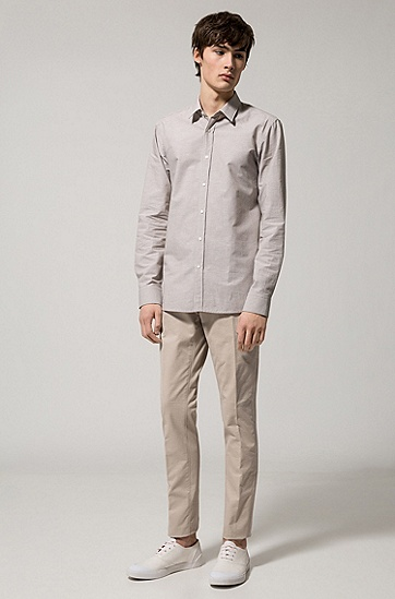 修身版棉质混纺条纹衬衫,  271_浅米色