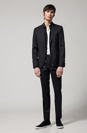 修身版标语印花棉衬衫,  001_黑色