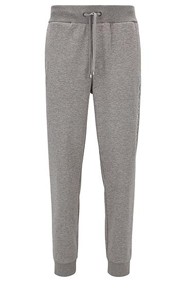 立式logo棉质混纺家居便服运动裤,  033_中灰色