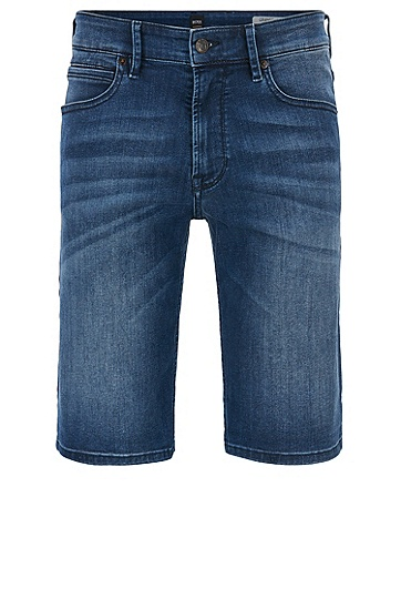 常规版超弹牛仔布短裤,  422_中蓝色