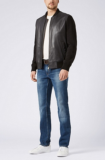 修身版中蓝色舒适弹力牛仔裤,  420_中蓝色