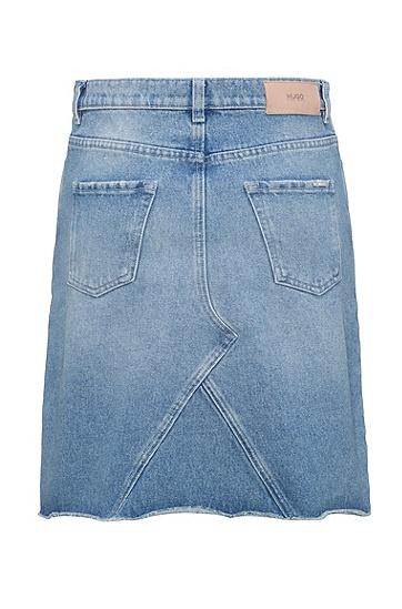 毛边裙边牛仔布A字半身裙,  450_浅蓝色