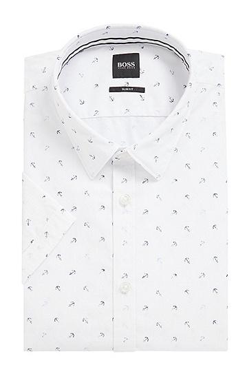 修身版棉府绸锚形印花衬衫,  458_浅蓝色