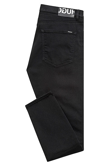 饰以机车着装细节的修身版带弹力黑色牛仔布牛仔裤,  001_黑色