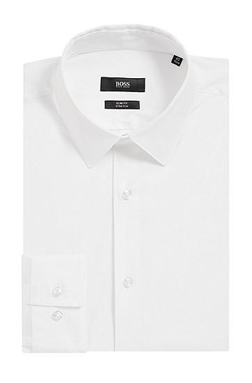 修身版带弹力府绸衬衫,  100_白色