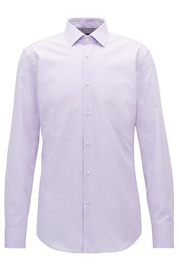 修身版微型图案弹力棉衬衫,  530_浅紫色