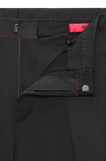 带红色细节的修身羊毛长裤,  001_黑色